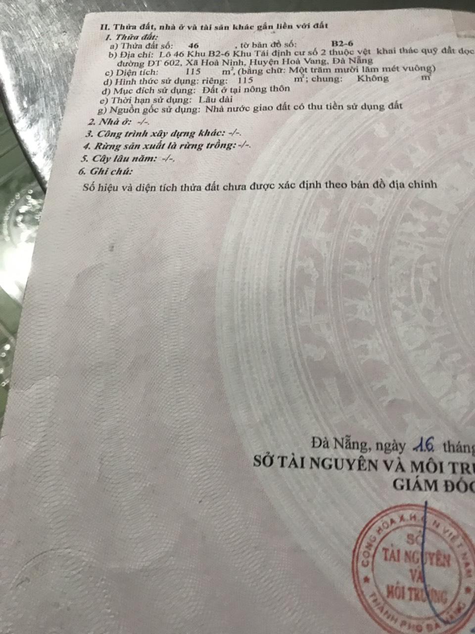 Đất KĐT mới Hòa Ninh, Hòa Ninh 2 Hòa Vang Đà Nẵng
