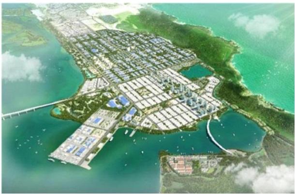 Phối cảnh tổng thể Khu công nghiệp đô thị Nhơn Hội thuộc Khu kinh tế Nhơn Hội